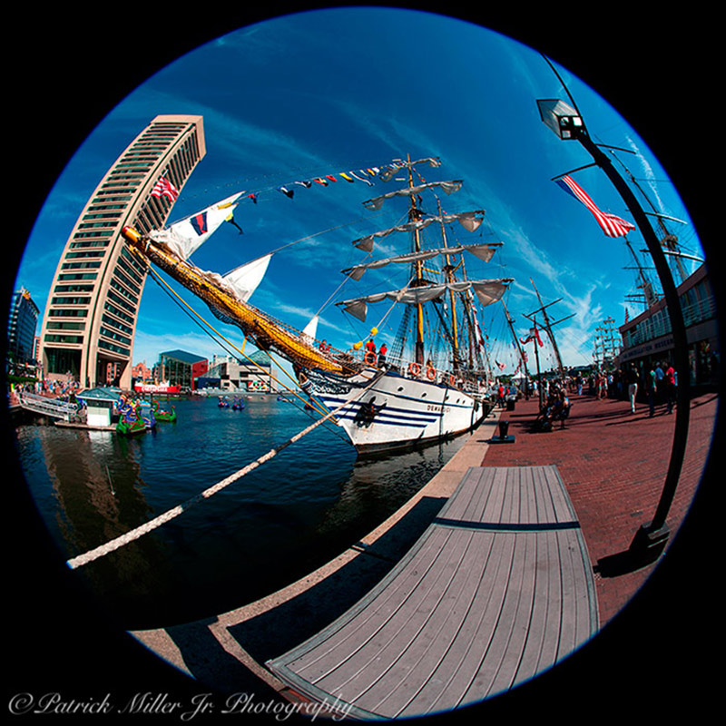Schooner on a beautiful day in Baltimore Inner Harbor during the Sailabration festival Maryland
