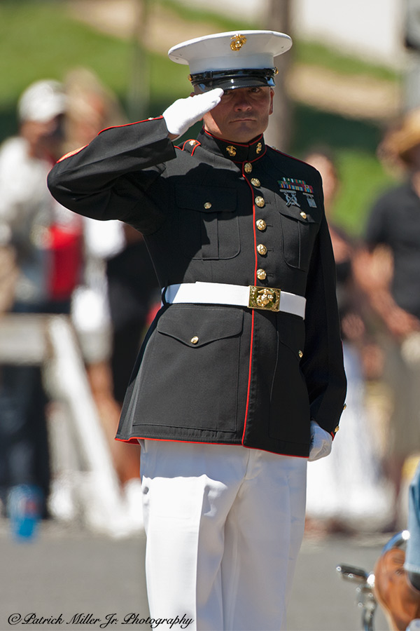 Marine standing at attention all day during the Rolling Thunder event in Washington, DC