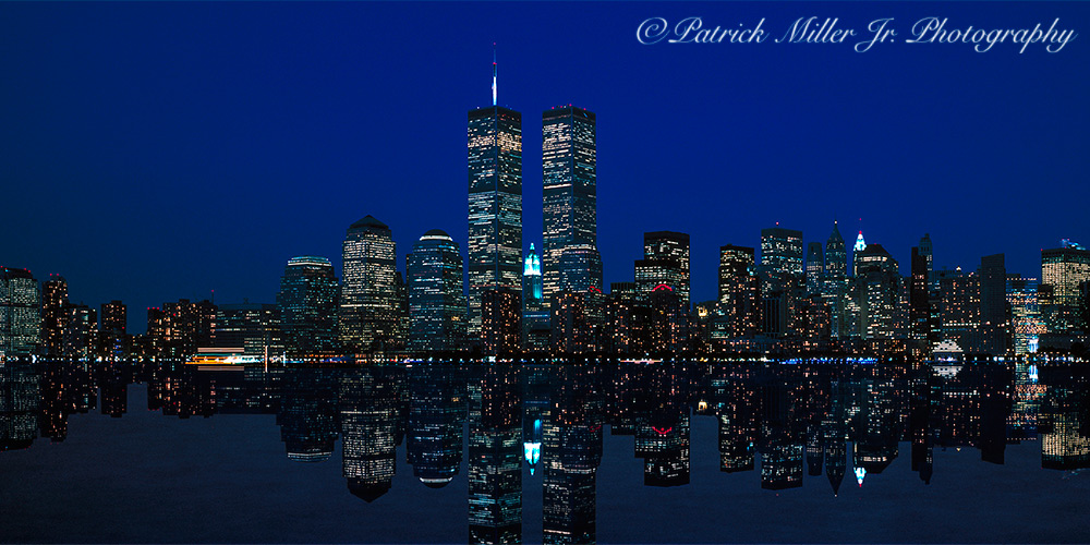 New York night skyline with reflections taken days before 9/11/2001. Image was captured using a large format camera.