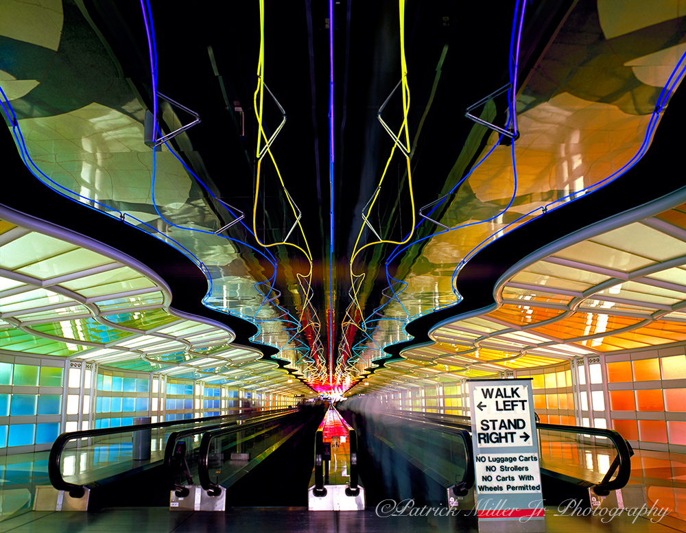 Light show on moving walkway between concourse C and Chicago O'Hara International Airport