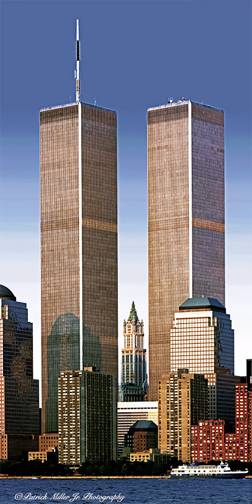 US Twin Towers New York taken just days before 9/11 from Liberty Park on a clear day