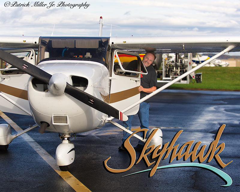 Pilot with his Skyhawk Plane with a logo Leesburg, VA