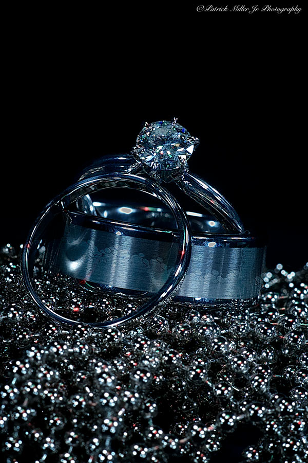 Product Photography Wedding Rings with Blue Beads