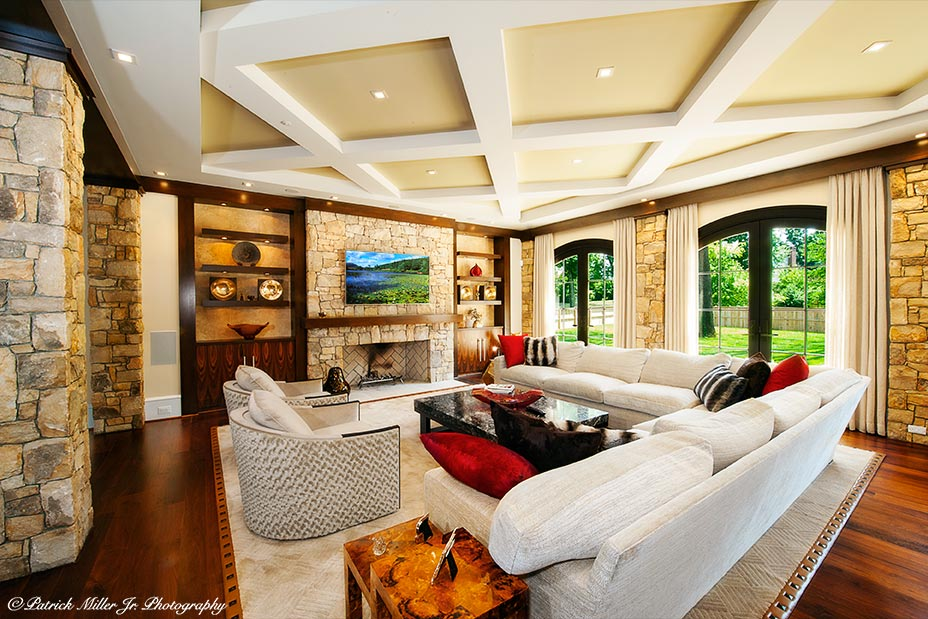 Commercial Interior Architecture Stone Living Room Bethesda, MD