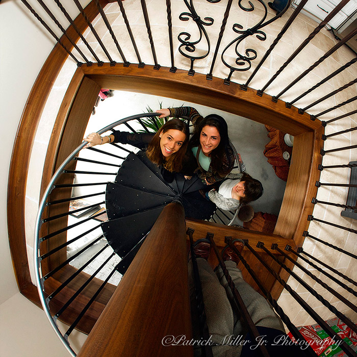 Girls on spiral staircase in Maryland