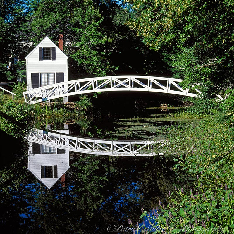 Small house with a wooden walking bridge and reflections located in Somesville Acadia National Park, Maine. A Year for Bridges, 2019