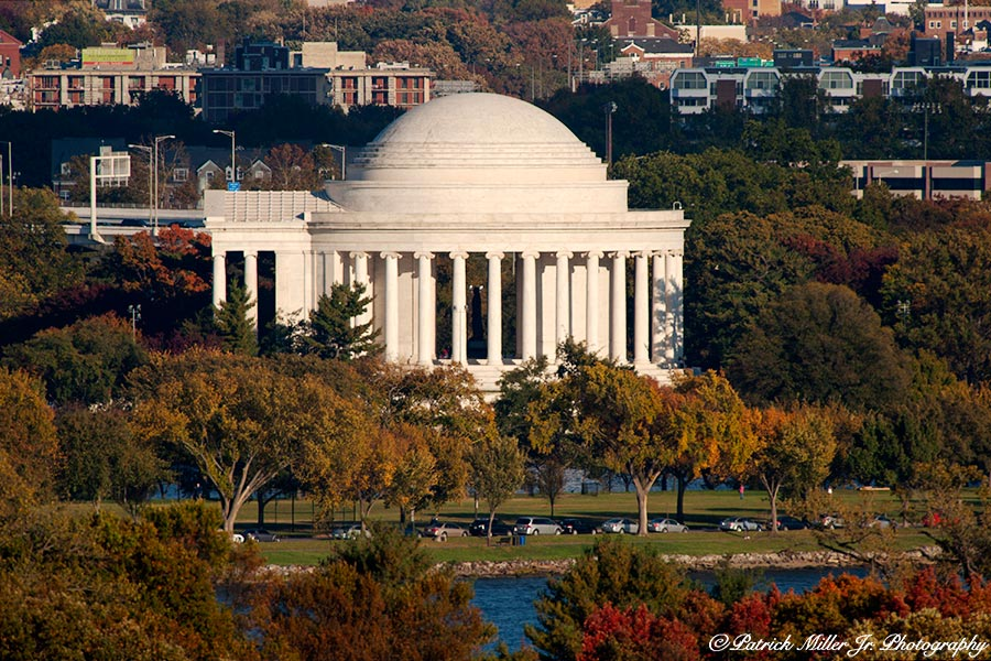 View from the Curtis Lee Mansion of the Thomas Jefferson Memorial In the fall