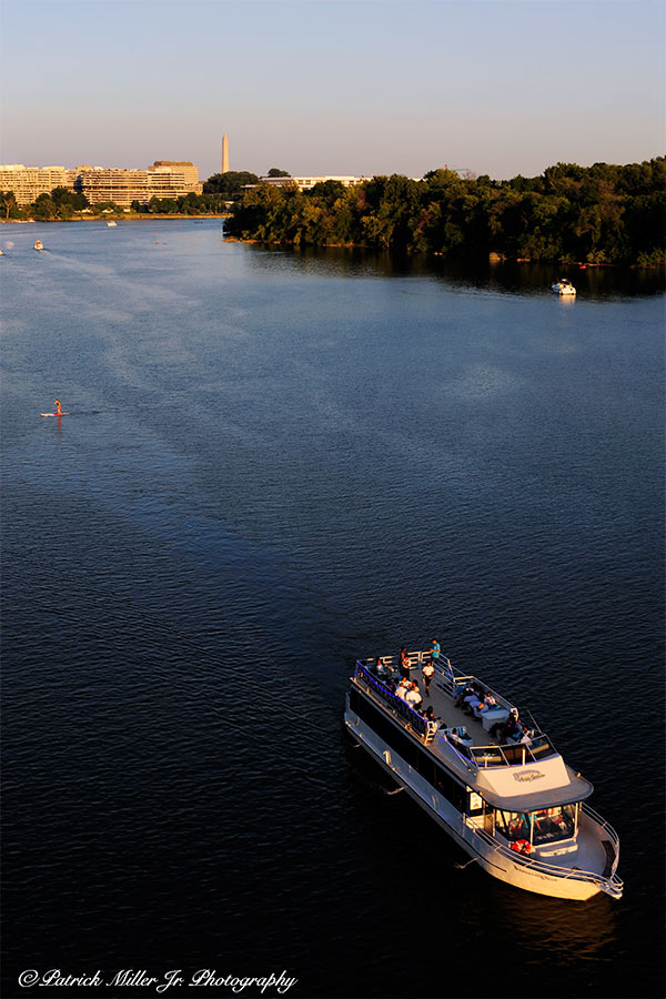 Cruise Boat on the Potomac River at sunset in Washington, DC