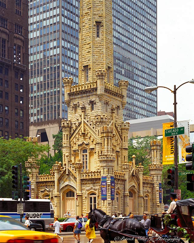Historic Chicago Water Tower in downtown Chicago Ave Illinois
