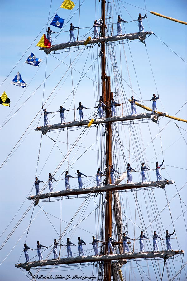 """Sailers atop schooner masts on the 200th anniversary of the Battle of Baltimore with the British called """"Sailabration"""""""