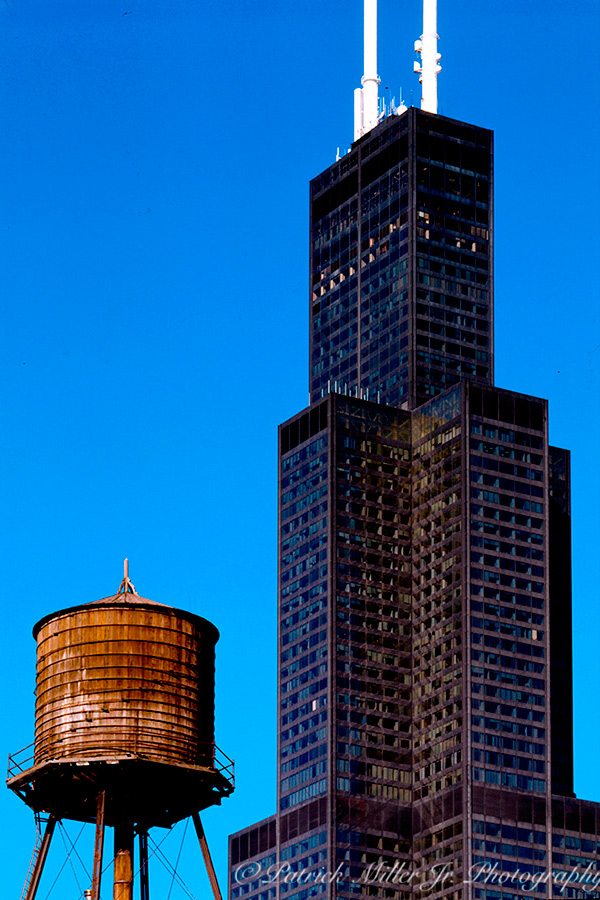 Exterior architecture of old water tower and the Willis Tower Chicago, IL