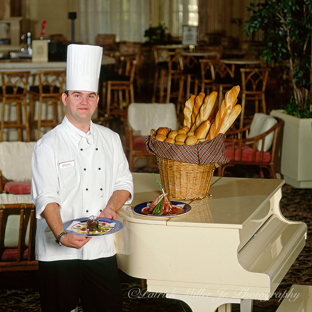 Chef portrait with entree in the piano room of a luxury hotel Washington, DC