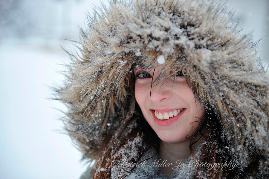 Outdoor portrait of a girl in the snow Virginia