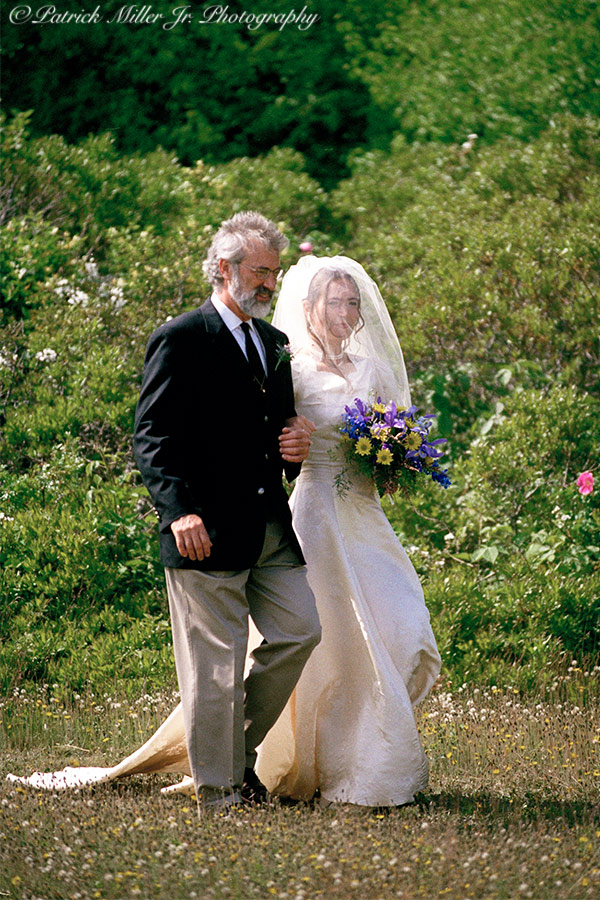 Father walking his daughter to her wedding